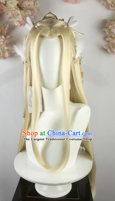 Traditional Chinese Cosplay Fairy Princess Golden Wigs Sheath Ancient Female Swordsman Chignon and Hair Accessories for Women
