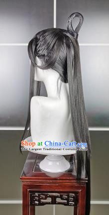 Traditional Chinese Cosplay Fairy Grey Wigs Sheath Ancient Female Swordsman Chignon for Women
