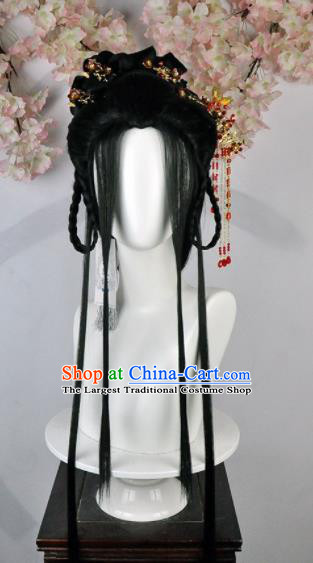 Traditional Chinese Cosplay Princess Wigs Sheath Ancient Female Swordsman Chignon and Hair Accessories for Women