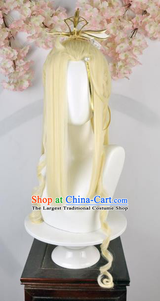 Traditional Chinese Cosplay Swordsman Yellow Wigs Sheath Ancient Taoist Prince Chignon for Men