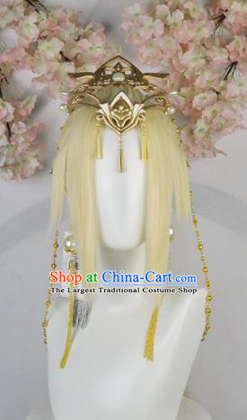 Traditional Chinese Cosplay Female Swordsman Golden Wigs Sheath Ancient Fairy Princess Chignon and Hair Accessories for Women