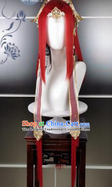 Traditional Chinese Cosplay Goddess Female Swordsman Red Wigs Sheath Ancient Princess Chignon and Hair Accessories for Women
