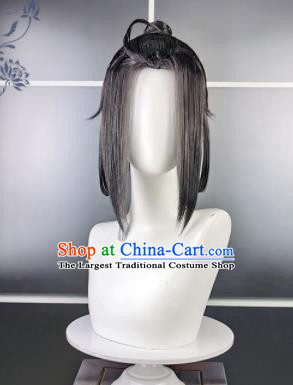 Traditional Chinese Cosplay Swordsman Grey Wigs Sheath Ancient Taoist Prince Chignon for Men