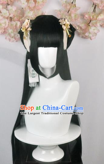 Traditional Chinese Cosplay Goddess Female Swordsman Wigs Sheath and Hair Accessories Ancient Princess Chignon for Women