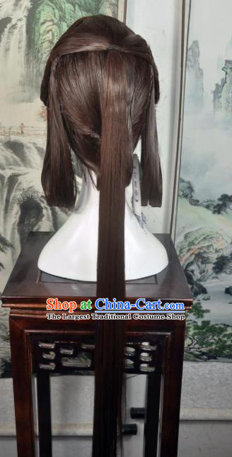 Traditional Chinese Cosplay Goddess Female Swordsman Brown Wigs Sheath Ancient Princess Chignon for Women