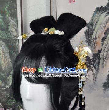 Traditional Chinese Cosplay Flowers Fairy Female Swordsman Black Wigs Sheath Ancient Princess Chignon for Women