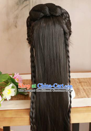 Traditional Chinese Ming Dynasty Nobility Lady Wigs Cosplay Ancient Goddess Female Swordsman Chignon for Women