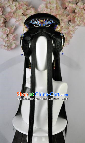 Traditional Chinese Cosplay Queen Wigs Sheath and Hairpins Ancient Goddess Princess Chignon for Women