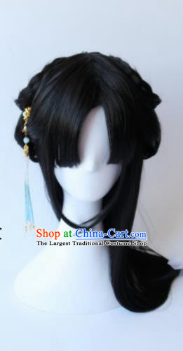 Traditional Chinese Cosplay Ming Dynasty Princess Black Long Wigs Sheath Ancient Female Swordsman Chignon for Women