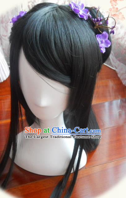 Traditional Chinese Cosplay Princess Ye Xihe Black Long Wigs Sheath Ancient Female Swordsman Chignon for Women