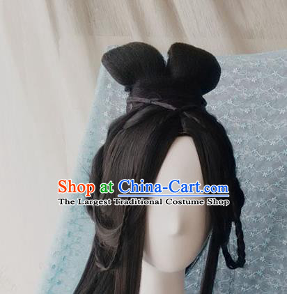 Traditional Chinese Cosplay Princess Feng Jiu Black Long Wigs Sheath Ancient Female Swordsman Chignon for Women
