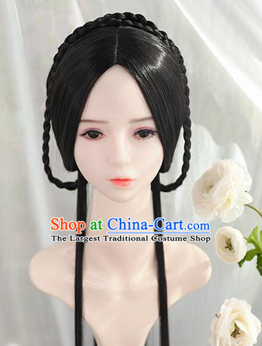 Traditional Chinese Cosplay Ming Dynasty Princess Wigs Sheath Ancient Female Swordsman Chignon for Women