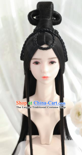 Traditional Chinese Cosplay Tang Dynasty Princess Wigs Sheath Ancient Female Swordsman Chignon for Women