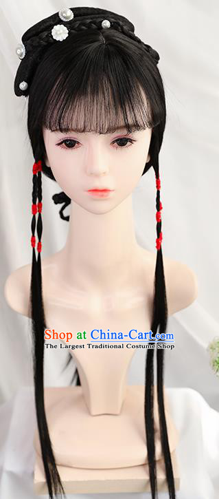 Traditional Chinese Cosplay Ming Dynasty Princess Lin Daiyu Wigs Sheath Ancient Nobility Lady Chignon for Women