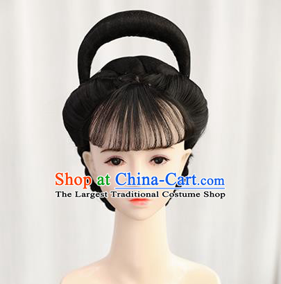 Traditional Chinese Cosplay Ming Dynasty Queen Wigs Sheath Ancient Nobility Lady Chignon for Women