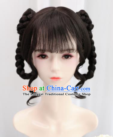 Traditional Chinese Cosplay Song Dynasty Princess Goddess Wigs Sheath Ancient Nobility Lady Chignon for Women