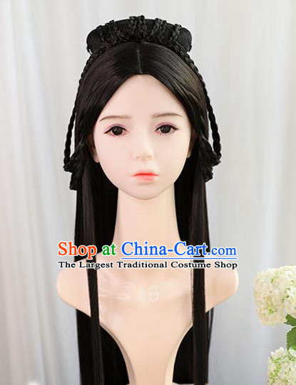 Traditional Chinese Cosplay Jin Dynasty Nobility Lady Wigs Sheath Ancient Princess Chignon for Women