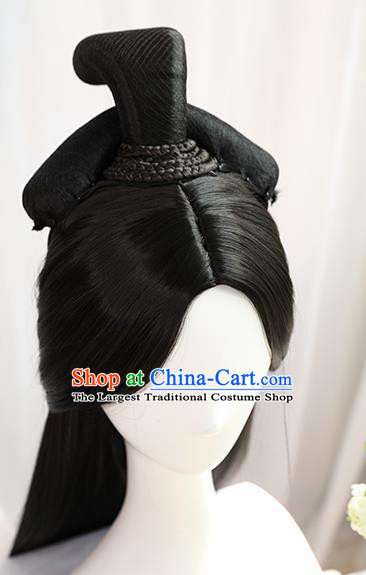 Traditional Chinese Cosplay Jin Dynasty Nobility Lady Wedding Wigs Sheath Ancient Princess Chignon for Women