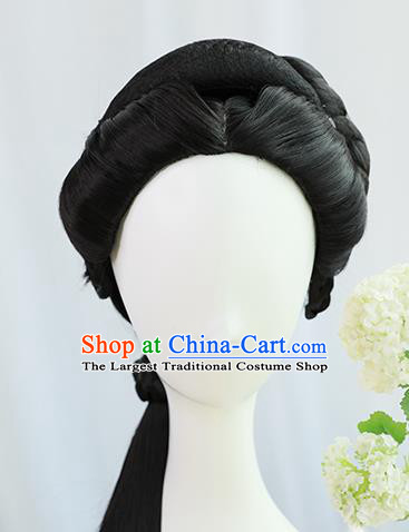 Traditional Chinese Cosplay Ming Dynasty Nobility Lady Wigs Sheath Ancient Court Queen Chignon for Women
