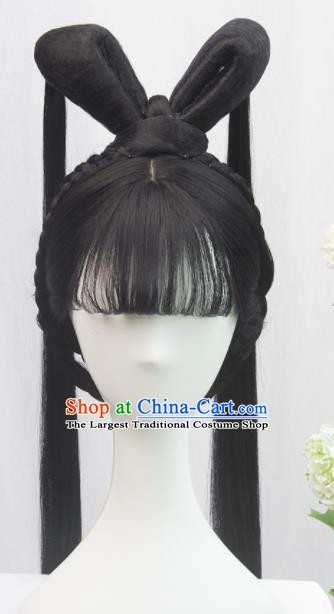 Traditional Chinese Cosplay Ming Dynasty Young Lady Wigs Sheath Ancient Flying Apsaras Chignon for Women