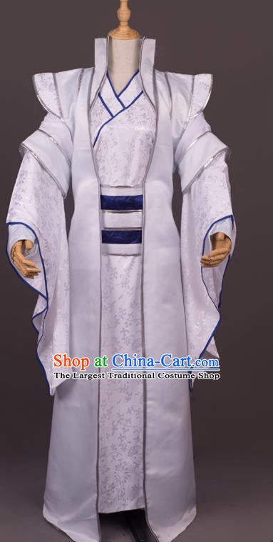 Traditional Chinese Cosplay Crown Prince White Costumes Ancient Swordsman Hanfu Clothing for Men