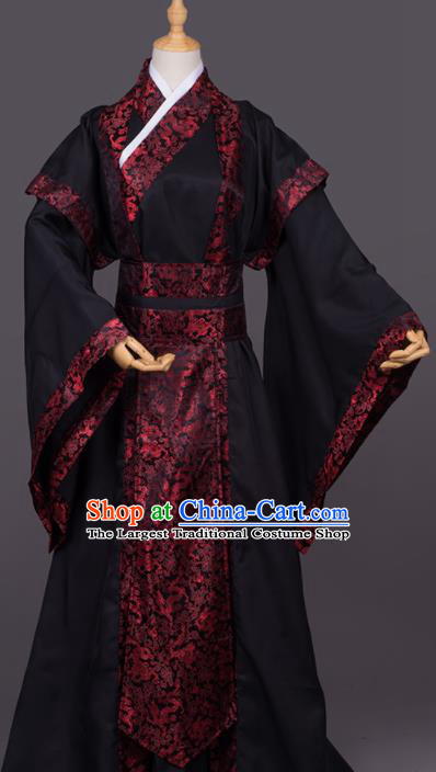 Traditional Chinese Cosplay Minister Black Costumes Ancient Swordsman Hanfu Clothing for Men