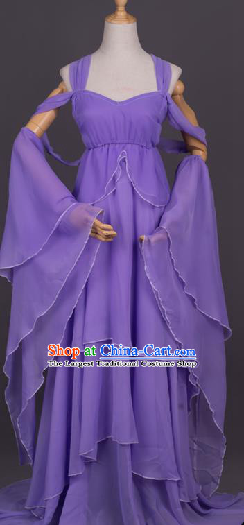 Traditional Chinese Cosplay Female Swordsman Purple Dress Ancient Drama Goddess Costumes for Women