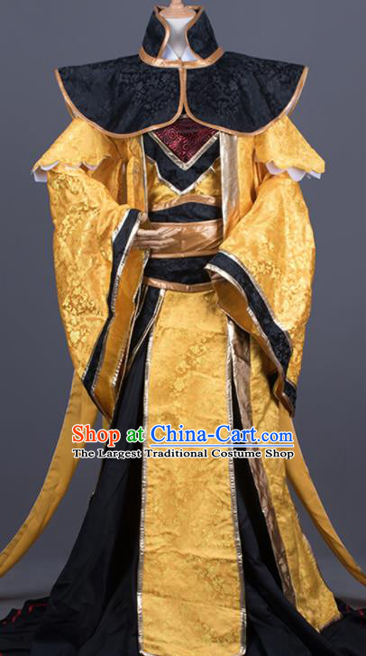 Traditional Chinese Cosplay King Golden Costumes Ancient Swordsman Hanfu Clothing for Men