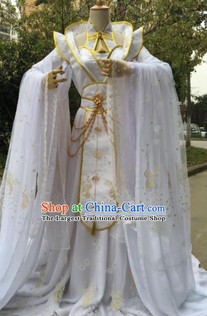 Traditional Chinese Cosplay Female Swordsman Queen White Dress Ancient Drama Fairy Princess Costumes for Women