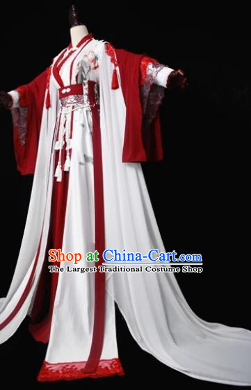 Traditional Chinese Cosplay Court Queen Red Dress Ancient Drama Fairy Princess Costumes for Women