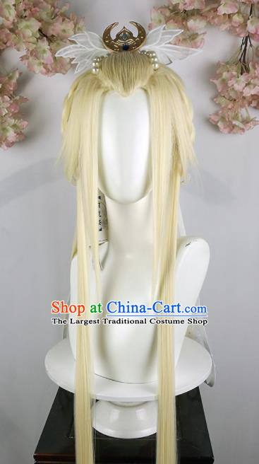 Traditional Chinese Cosplay Swordsman Golden Wigs Sheath and Hair Accessories Ancient Goddess Chignon for Women