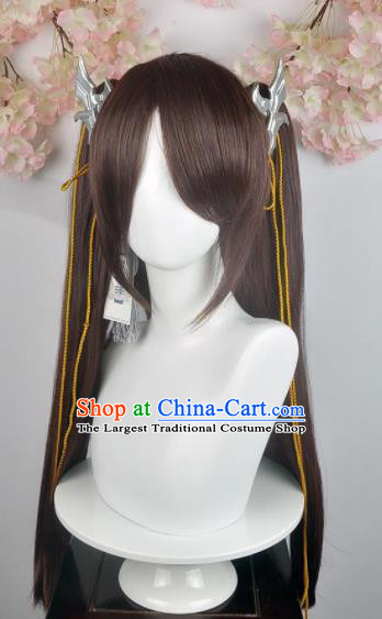 Traditional Chinese Cosplay Young Lady Brown Wigs Sheath and Hair Accessories Ancient Goddess Chignon for Women