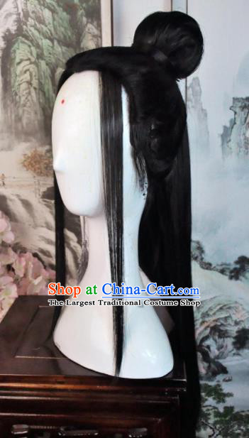 Traditional Chinese Cosplay Taoist Nun Black Long Wigs Sheath Ancient Swordsman Goddess Chignon for Women