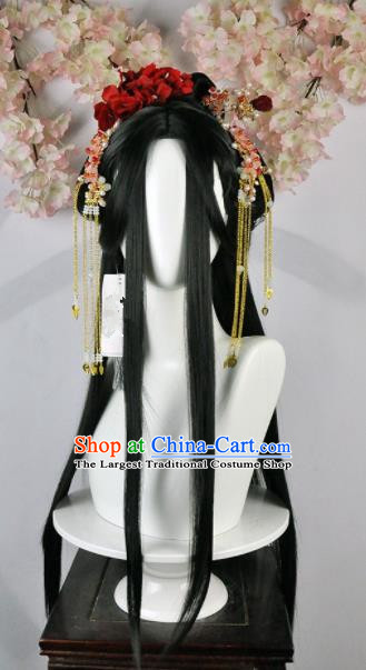 Traditional Chinese Cosplay Imperial Consort Wigs Sheath and Hairpins Ancient Goddess Princess Chignon for Women