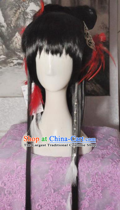 Traditional Chinese Cosplay Court Princess Aranya Wigs Sheath Ancient Goddess Chignon for Women