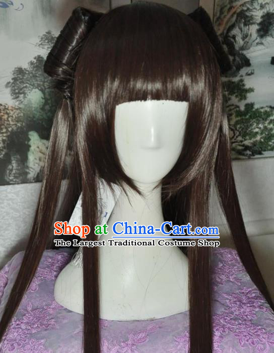 Traditional Chinese Cosplay Court Princess Brown Wigs Sheath Ancient Goddess Chignon for Women