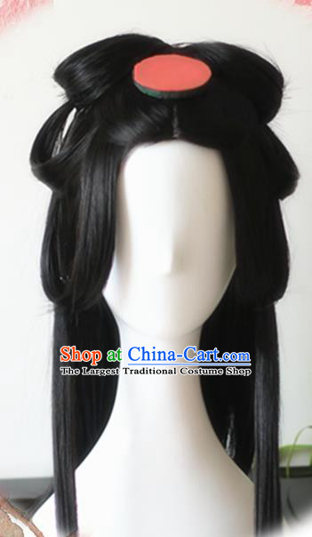 Traditional Chinese Cosplay Princess Black Long Wigs Sheath Ancient Female Swordsman Chignon for Women