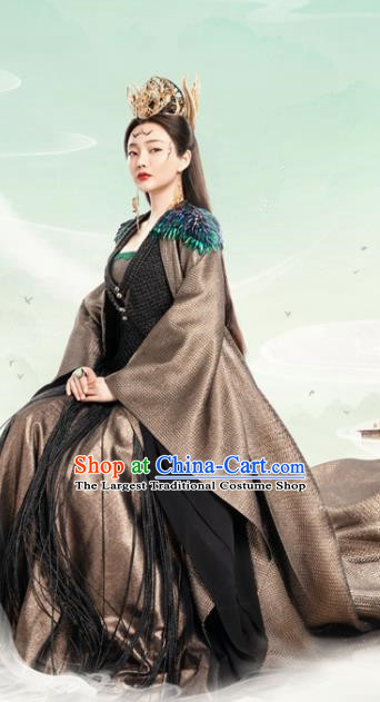 Chinese Ancient Queen Ling Yue Dress Drama Love and Destiny Goddess Liu Qianhan Costumes and Headpiece for Women