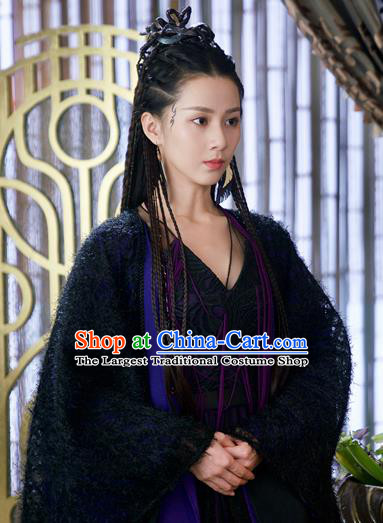 Chinese Ancient Princess Bao Qing Black Dress Drama Love and Destiny Swordsman Liu Yinglun Costumes and Headpiece for Women