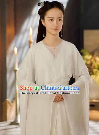 Chinese Ancient Court Maid White Dress Drama Love and Destiny Lady Hua Yan in the Nine Heavens Costumes for Women
