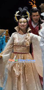 Chinese Drama Yuan Qu Ancient Court Queen Dance Dress Stage Performance Costume and Headpiece for Women