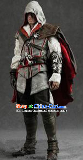 Top Grade Cosplay Assassin White Costumes Halloween Swordsman Clothing for Men