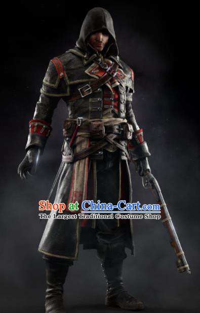 Top Grade Cosplay Assassins Creed Black Costumes Halloween Swordsman Clothing for Men