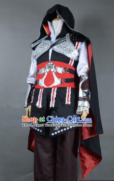 Top Grade Cosplay Assassins Creed Embroidered Costumes Halloween Swordsman Clothing for Men