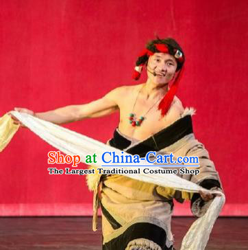 Chinese Happiness On The Way Zang Nationality Khaki Robe Stage Performance Dance Costume for Men
