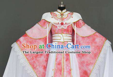 Traditional Chinese Cosplay Queen Pink Dress Ancient Drama Female Swordsman Costumes for Women