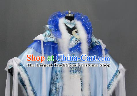 Traditional Chinese Cosplay Goddess Queen Blue Dress Ancient Drama Female Swordsman Costumes for Women