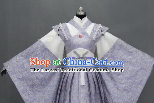 Traditional Chinese Cosplay Goddess Queen Violet Dress Ancient Drama Female Swordsman Costumes for Women
