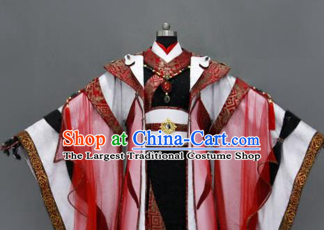 Chinese Cosplay Royal Highness Wedding Red Costumes Ancient Swordsman Clothing for Men