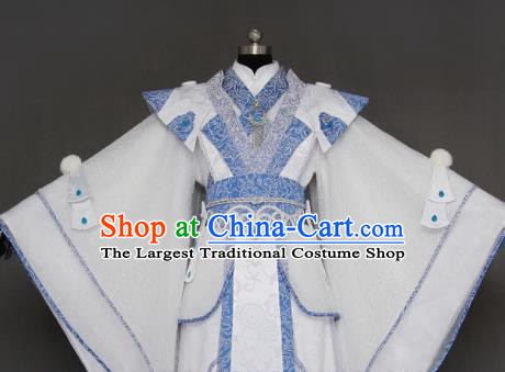 Chinese Cosplay Crown Prince White Costumes Ancient Swordsman Clothing for Men
